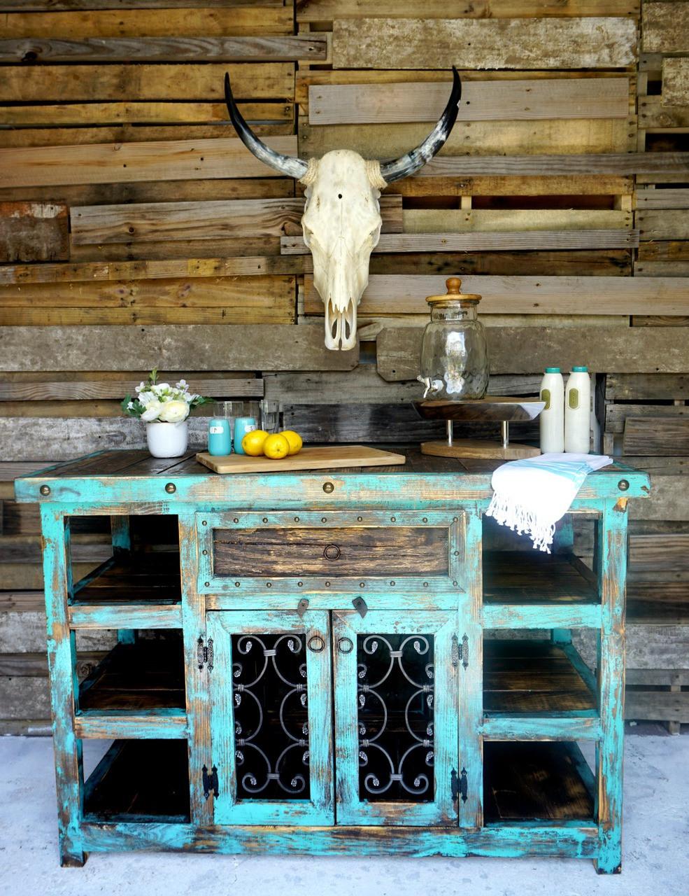 Inigo Rustic Island In Turquoise ...