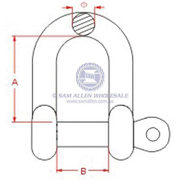 Dee shackle for boat rigging