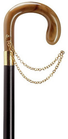 European Ladies Horn Crook Handle Cane With Gold Chain