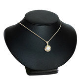 """Padded Neck Bust Necklace Low Profile Display 4.5""""H Black Leather"""