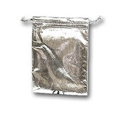 100 Metallic Fabric Bag Jewelry Gift Pouch Silver 4X4.5""