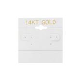 "100 Plastic Earring Hanging Card 2""x2"" White 14KT GOLD"