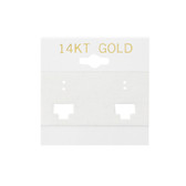 "100 Plastic French Clip Earring Hanging Card Sign 2""x2"" White 14KT GOLD"