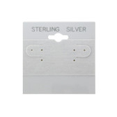 """100 Plastic Earring Hanging Card Sign 2""""x2"""" Grey STERLING SILVER"""