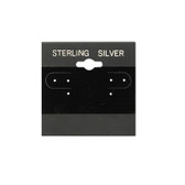 """100 Plastic Earring Hanging Card 2""""x2"""" Black STERLING SILVER"""