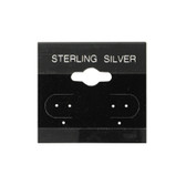 "100 Plastic Earring Hanging Card 1.5""x1.5"" Black STERLING SILVER"