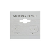 "100 Plastic Earring Hanging Card 1.5""x1.5"" Grey STERLING SILVER"