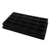 Flocked Tray Liner 20-Compartment Insert Black