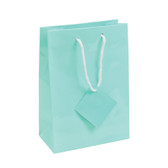 "Jewelry Gift Shopping Tote Bag Teal Blue 4 3/4"" x 2 1/2"" x 6 3/4"" (10)"