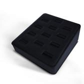 Ring Display Tray 12 Slot Ramp Black Leather