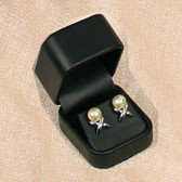 Round Corner Leather Earring Jewelry Gift Box Black