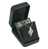 Round Corner Leather Pendant Earring Jewelry Gift Box Black