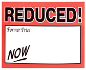 "50 Large Paper Price Sign ""REDUCED"" 5.5x7"""