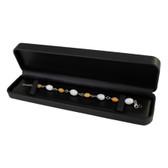 Round Corner Leather Watch Bracelet Jewelry Gift Box Black