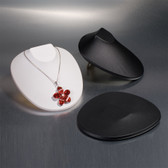 Pop-up Necklace Display Bust White Leather