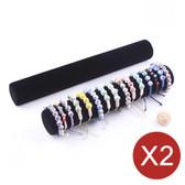 2 Bracelet Bangle Chain Display Bar Tube Black Velvet