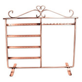 Metal Necklace Bracelet Earring Organizer Rack Copper Tone