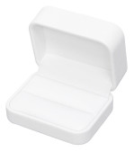 Round Corner Leather Double Ring  Cufflink Gift Box White