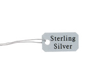 100 Pre-Printed Plastic String Tags STERLING SILVER
