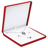 Flocked Velour Large Combination Jewelry Box Red