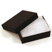 "100 Jewelry Box 3 1/8"" x 2 3/8"" x 1""H Black Linen"