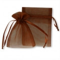 50 Organza Gift Jewelry Pouch Wedding Favor Bag Brown 7x11.5""