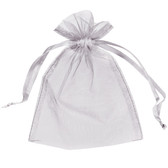 """100 Organza Jewelry Bag Gift Pouch Silver 2X3.25"""""""