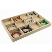 Burlap 12-Compartment Jewelry Display Tray