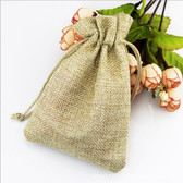 "100 Burlap Drawstring Bag Gift Pouch 2 3/4"" x 3 1/2"" Beige"