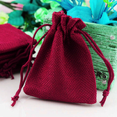 "100 Burlap Drawstring Bag Gift Pouch 2 3/4"" x 3 1/2"" Burgundy"