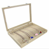Glass-Top Necklace Bracelet Chain Display Case Burlap