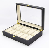 Deluxe 12 Watch Black Wood Collection Case