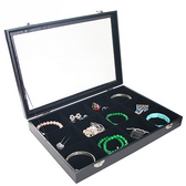 Glass-Top 12-Compartment Jewelry Display Case Black