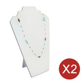 "2 Necklace Easel Display 12.5""H White Leather"