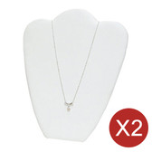 "2 Necklace Chain Easel Display 11""H White Leather"