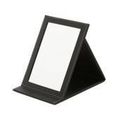 Deluxe Faux Leather Folding Glass Mirror Black