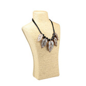 "Paper Twine Bust Form Necklace Display 14""H Beige"