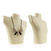Paper Twine Necklace Display Bust Shoulder Form Mannequin Beige