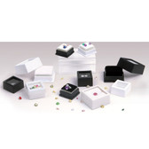 50 Glass Top Gem Box with 2-Sided Foam White Large