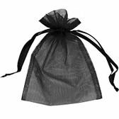 "100 Organza Bag  Pouch Black 5x7"" High Quality"