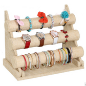 Bracelet Watch Chain Display Bar 3 Tiers Burlap