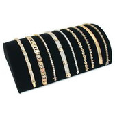 "Half Moon Bracelet Chain Display Ramp 8 1/4"" Black Velvet"