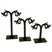 Earring T Display Set of 3 Acrylic Stands Tree-12 Pairs Black