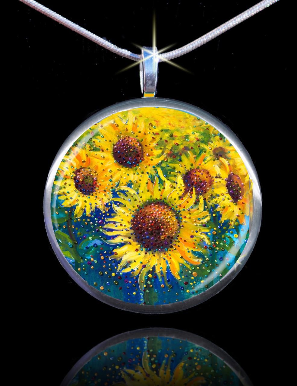 Sunflower life joy energy pendant feel happy today image 1 mozeypictures Choice Image