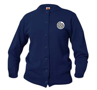 A+ Female Cardigan Crew Neck Sweater 6000 Navy  with LOGO