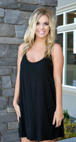 Lace Inset Racer Back Black Dress