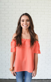 Off The Shoulder Orange Blouse