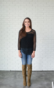 Crochet Black Sweater