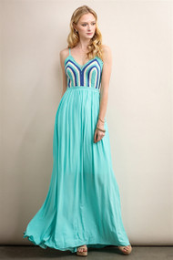 Avery Teal Crochet Maxi Dress