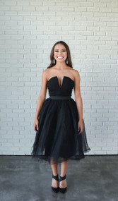 Limited Edition Rare London Black Plunge Midi Tutu Dress
